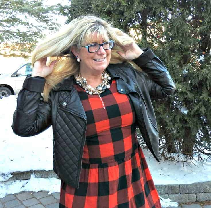 Buffalo check Dress from Old Navy with leather moto and 7 charming sisters pearl necklace