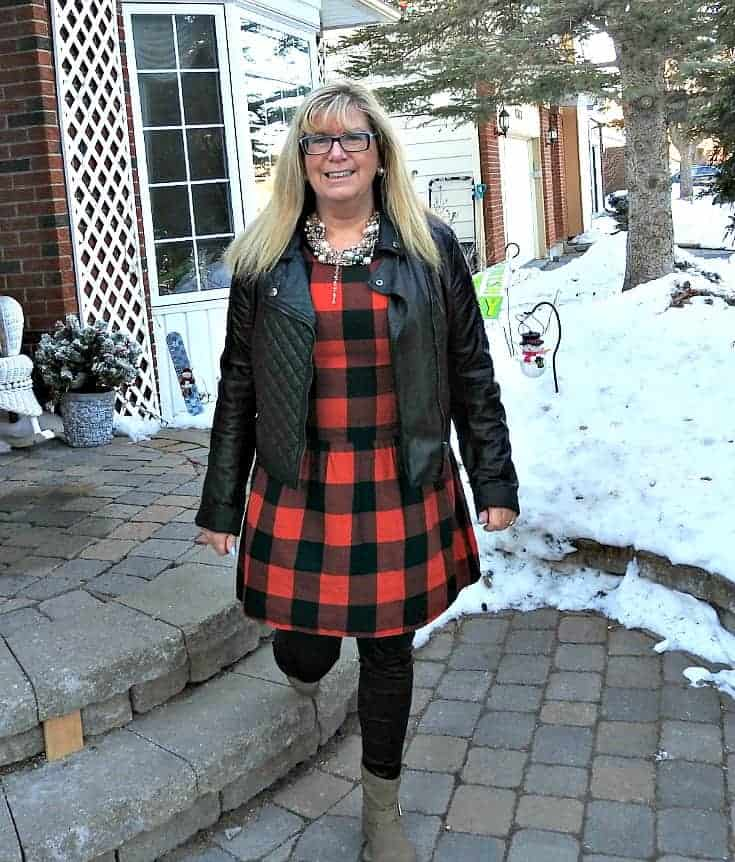 Buffalo check Dress from Old Navy with black moto and 7 charming sisters pearl necklace