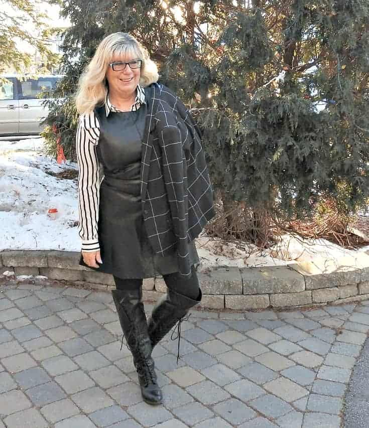leather dress and striped blouse from Forever 21 and Shoe Dazzle boots