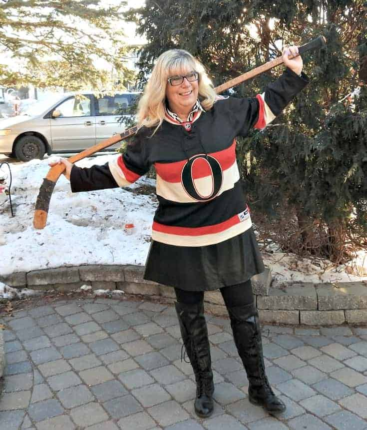 Hockey night in leather dress and striped blouse from Forever 21 with an Ottawa Senators Hockey Jersey and Shoe Dazzle boots