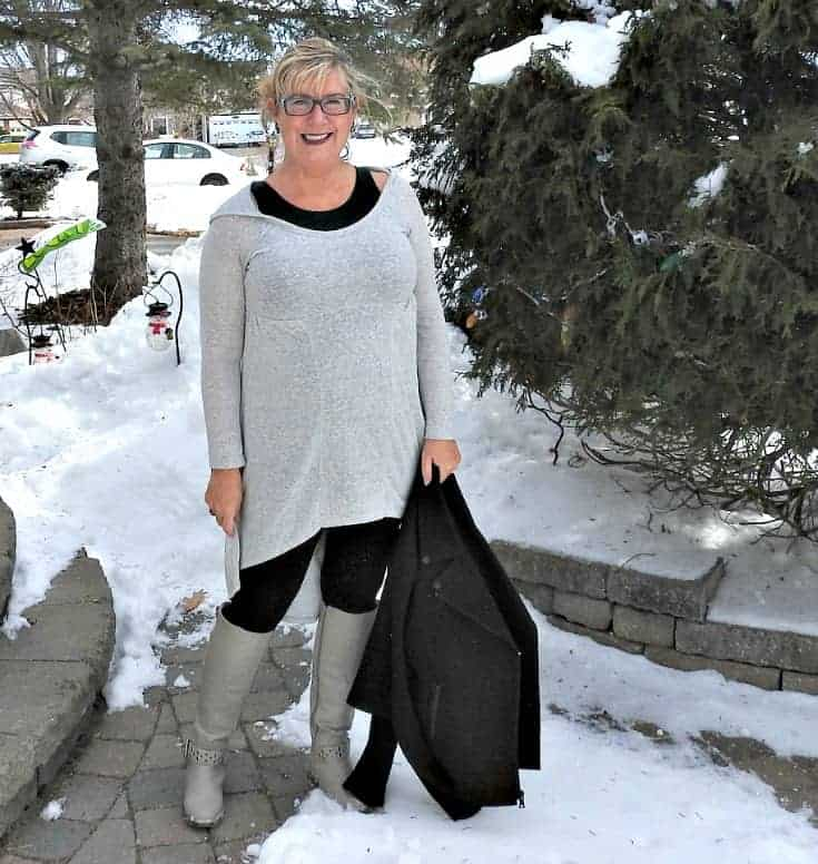 Heather grey tunic and shoe dazzle boots