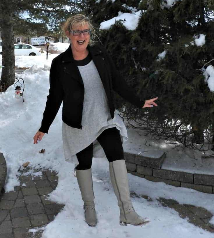 kicking up my heels in Heather grey tunic with a moto and shoe dazzle boots