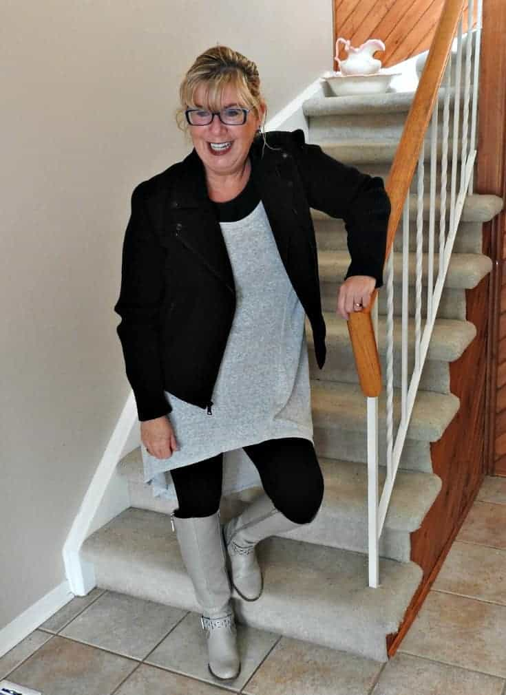 winter appropriate Heather grey tunic with a moto and shoe dazzle boots