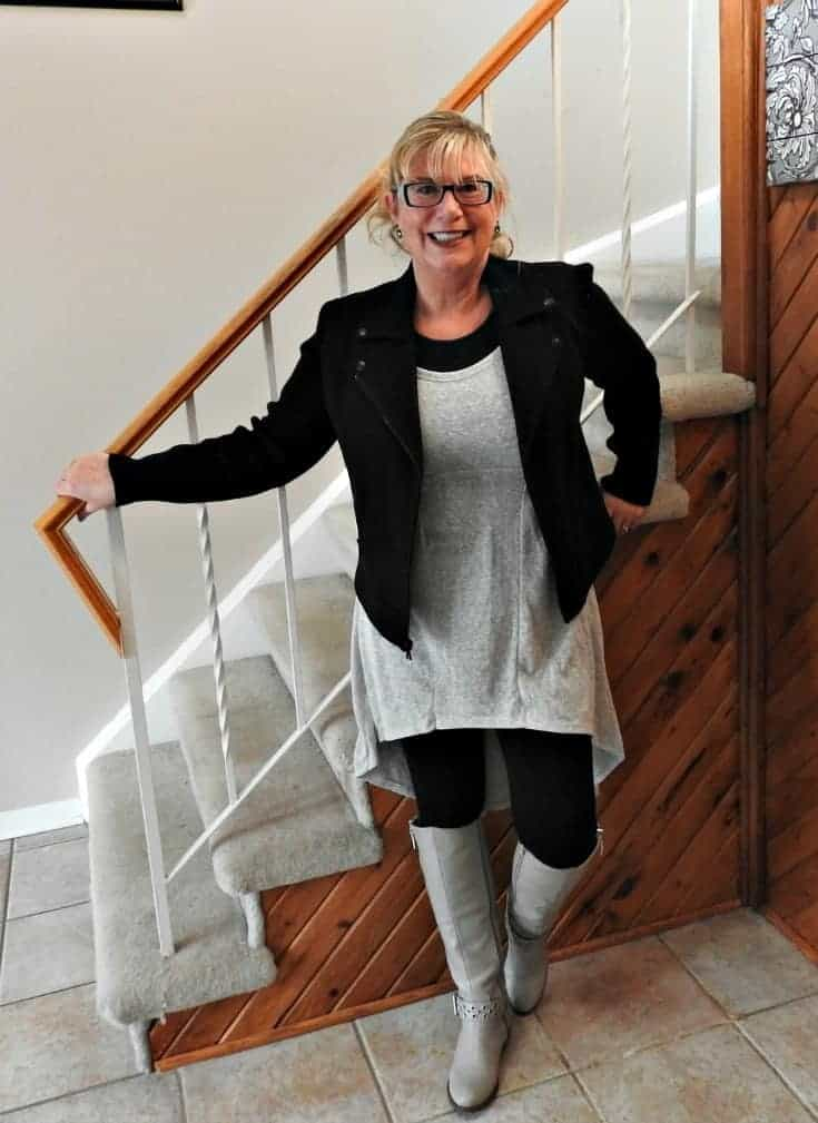 Heather grey tunic with a moto and shoe dazzle boots