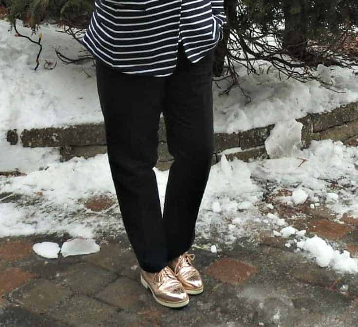 Old Navy Stripes with a classic vanheusen pant and metallic oxfords
