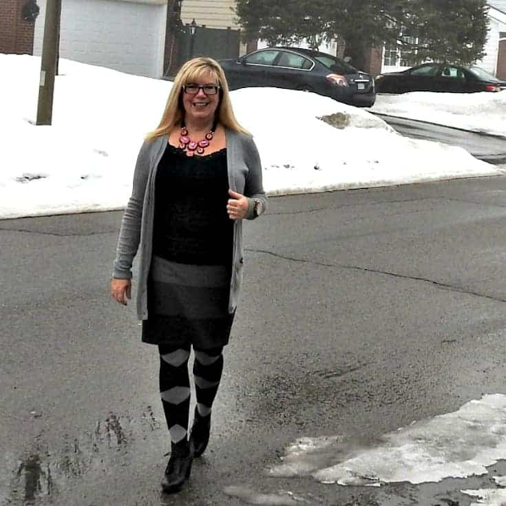 ricki's striped grey skirt with Old Navy Boyfriend Cardigan and argyle tights