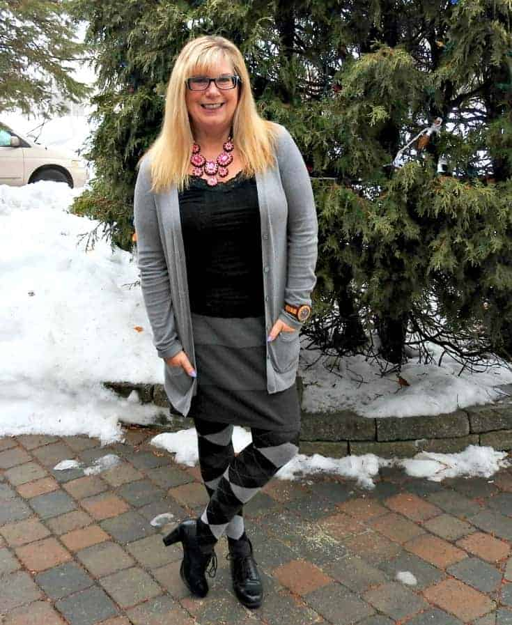 ricki's striped grey skirt with Old Navy Boyfriend Cardigan and argyle tights with a 7 charming sisters necklace