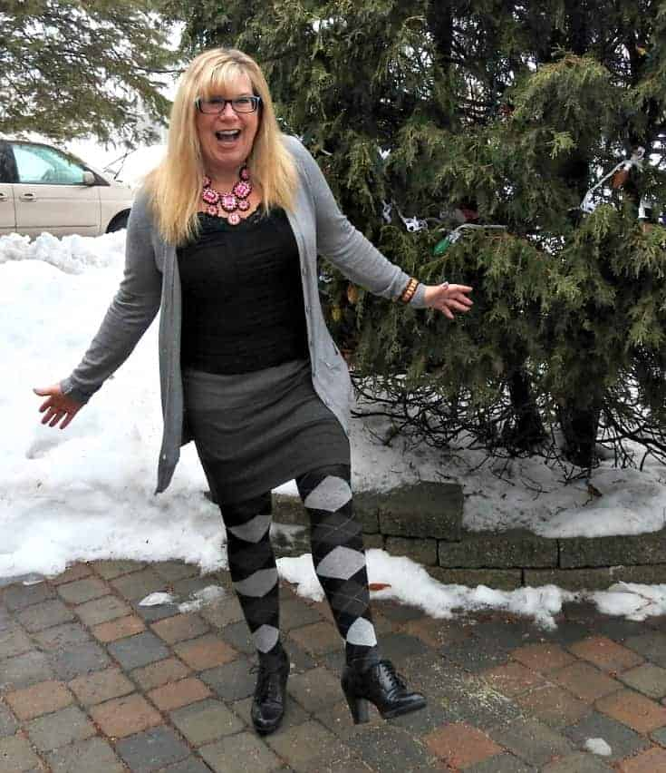 ricki's striped grey skirt with Old Navy Boyfriend Cardigan and argyle tights and a great necklace