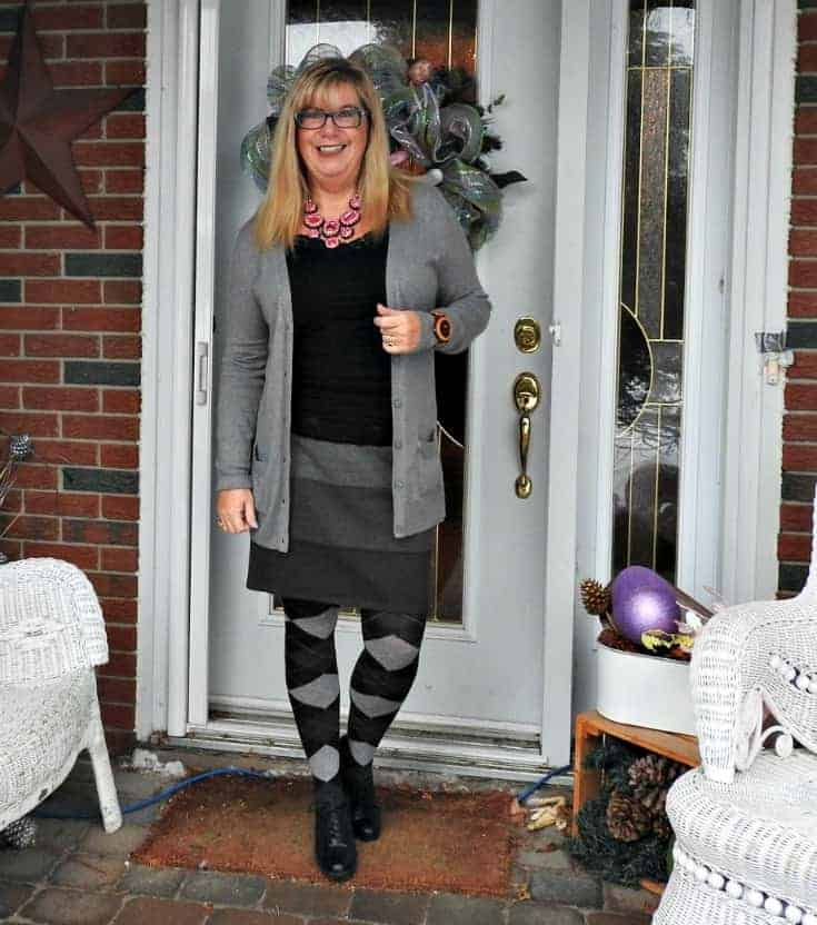 upping the grey to a new level in ricki's striped grey skirt with Old Navy Boyfriend Cardigan and argyle tights