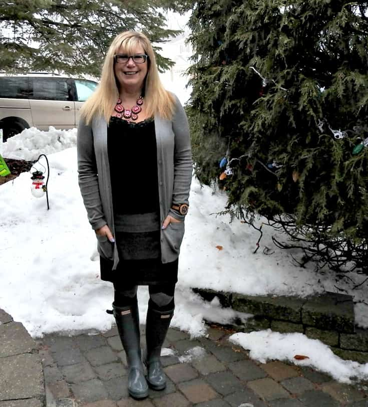 ricki's striped grey skirt with Old Navy Boyfriend Cardigan and argyle tight and grey hunter boots