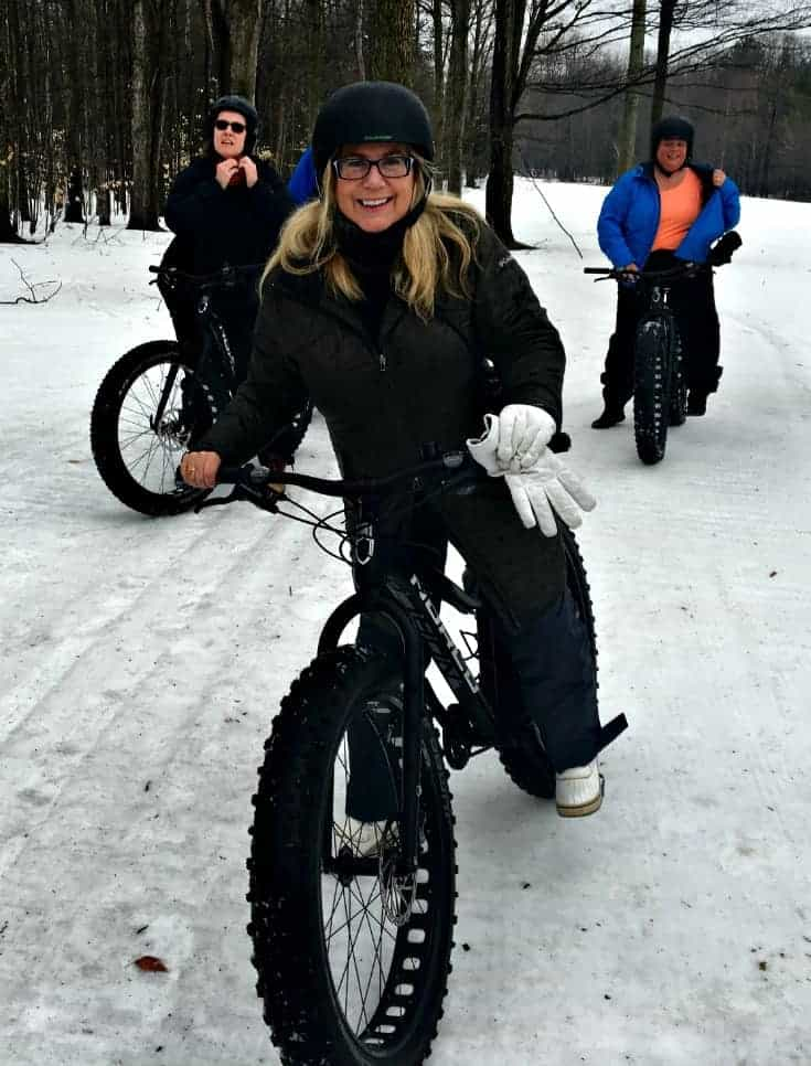 Fat biking at Horseshoe resort in a columbia cold climate coat and sketchers