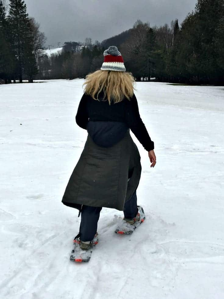 snow shoeing at Horseshoe resort in a columbia cold climate coat and wetskins with my canadian hat