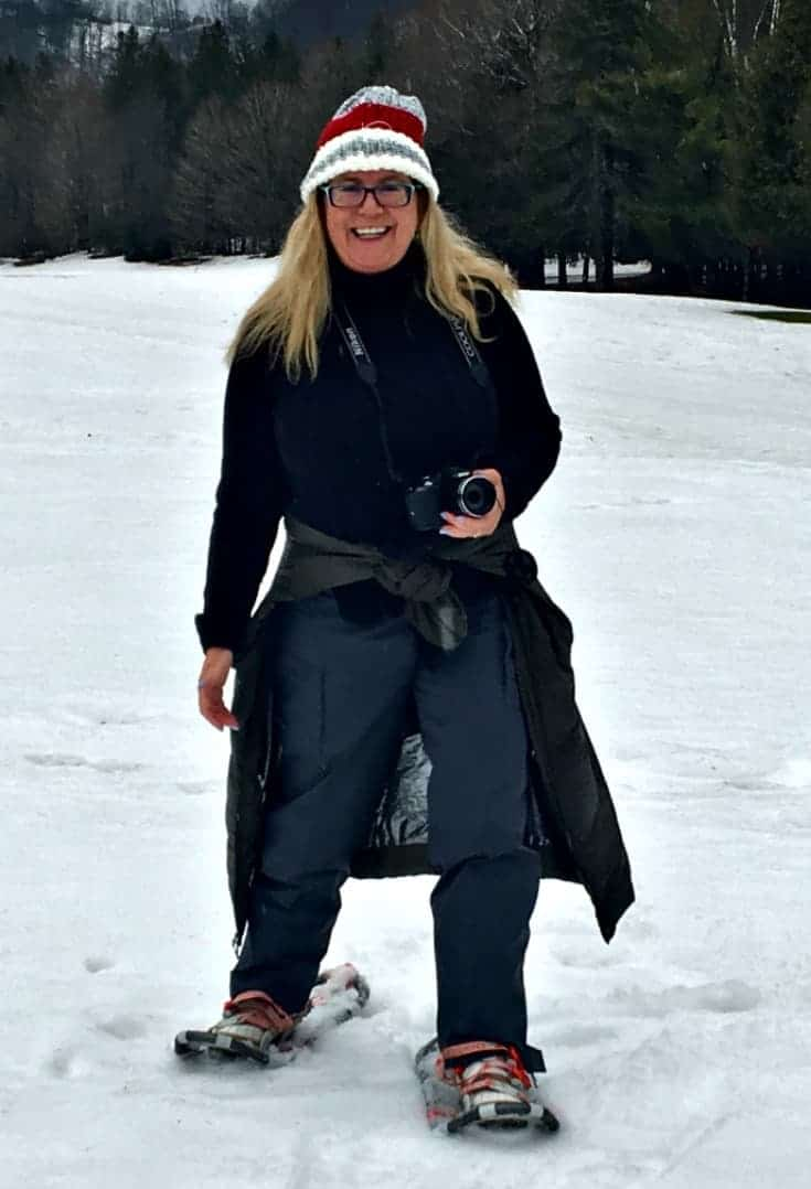 snow shoeing at Horseshoe resort in a columbia cold climate coat and wetskins with my canadian hat and sketchers