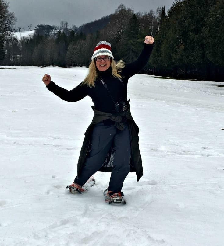 snowshoes and warm temperatures at the Horseshoe resort