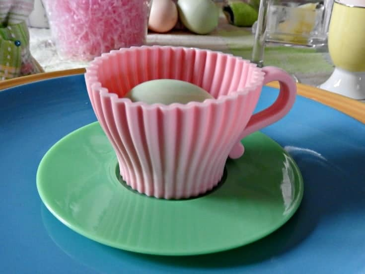 easter place setting with vintage cup and saucer