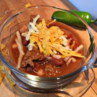 beef chili in a glass bowl
