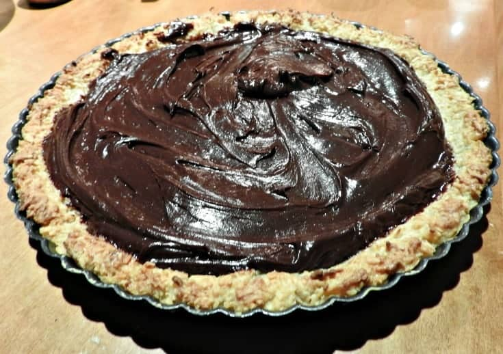 this easy macaroon recipe is baked into a pie crust and then filled with a rich chocolate ganache filling- easy to make and always a hit