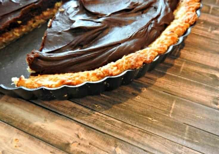 Chocolate Macaroon Pie - this easy macaroon recipe is baked into a pie crust and then filled with a rich chocolate ganache filling! It's the perfect mixture of decadent chocolate and coconut - this pie is always a hit!