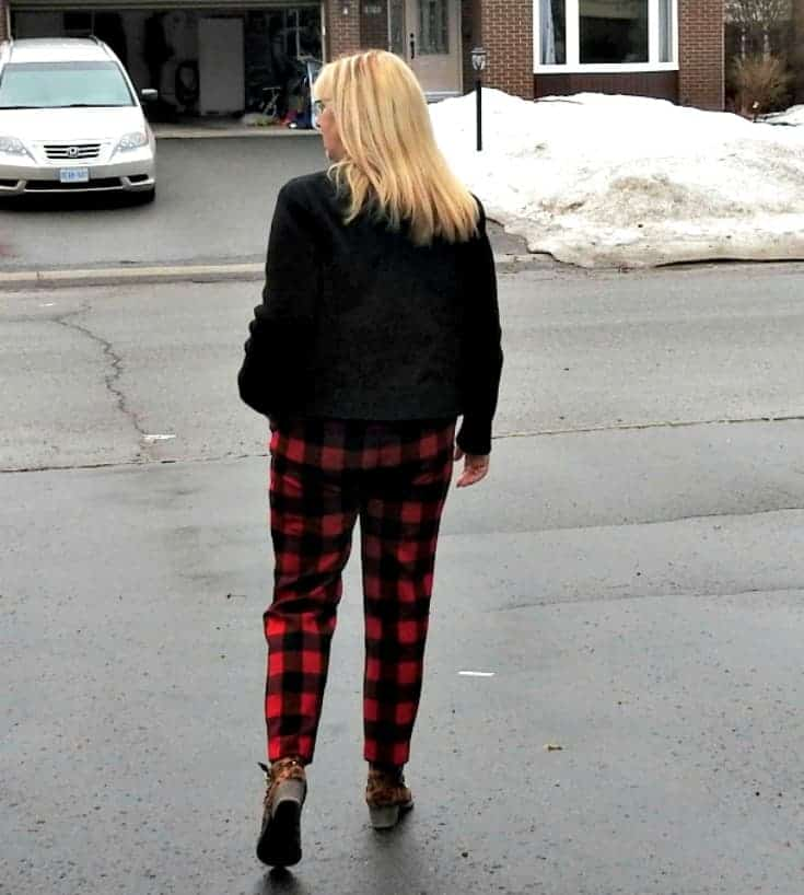 Old Navy Buffalo Plaid Harpers with a moto jacket and leopard booties with gold trim