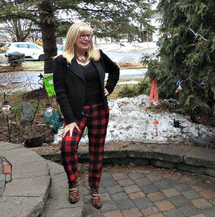 Old Navy Buffalo Plaid Harpers with a black wool moto jacket and leopard booties