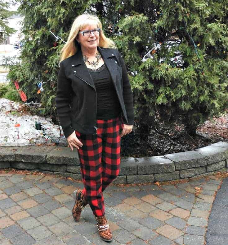 Old Navy Buffalo Plaid Harpers with a black moto jacket and leopard booties