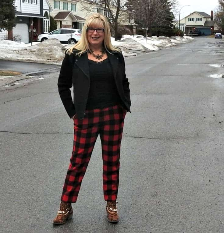 welcoming spring with an Old Navy Buffalo Plaid Harpers with a moto jacket and leopard booties