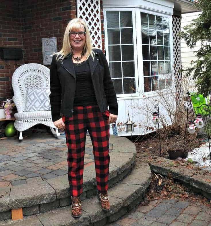 Old Navy Buffalo Plaid Harpers with a moto jacket and shoe dazzle leopard booties