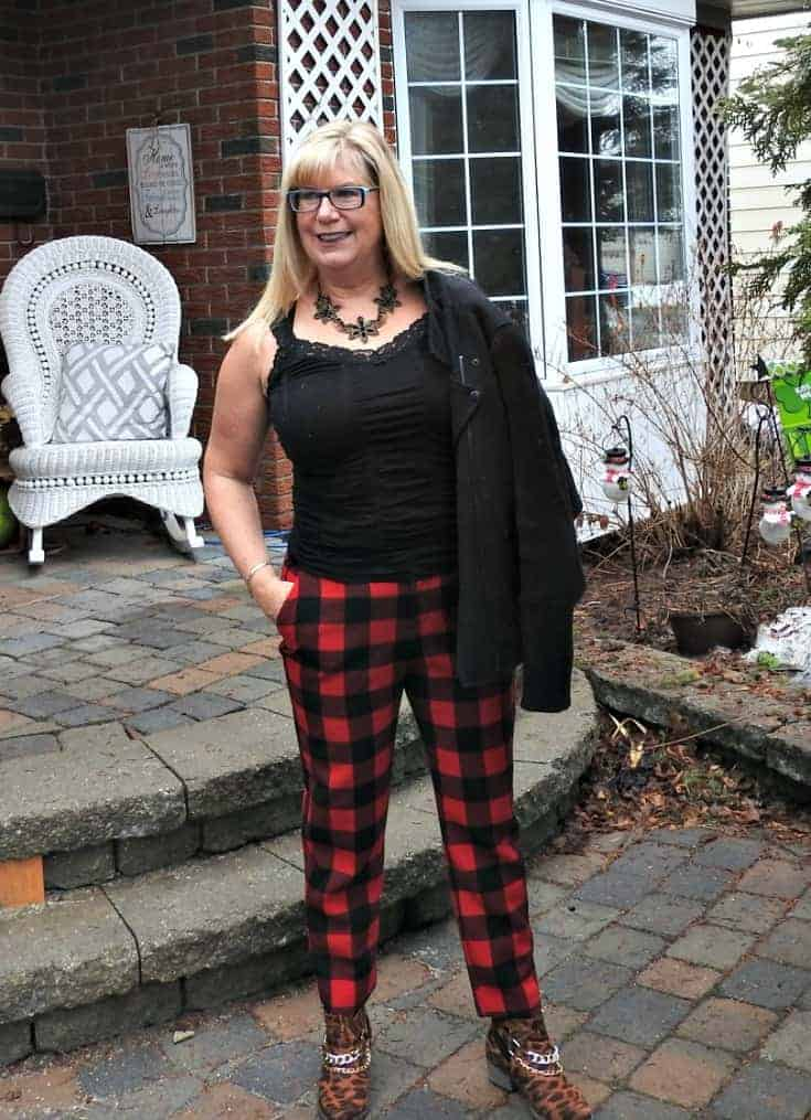 Old Navy Buffalo Plaid Harpers with a moto jacket, cami, and leopard booties