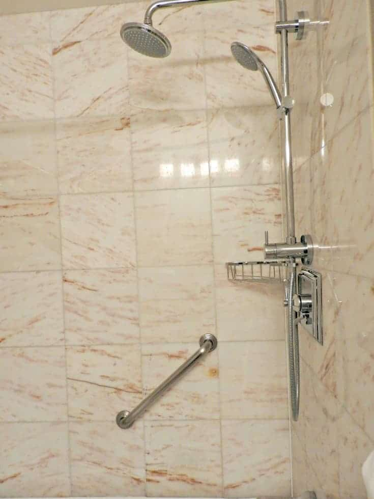 double shower heads in the Parlour corner room at the Chateau Laurier