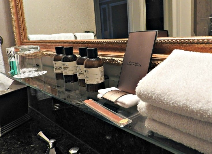 rose 31 toiletries Parlour corner room at the Chateau Laurier