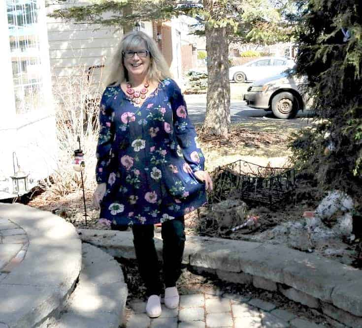 Floral Dress and Haggar Dream Jeans with 7 charming sisters necklace and pink tom's