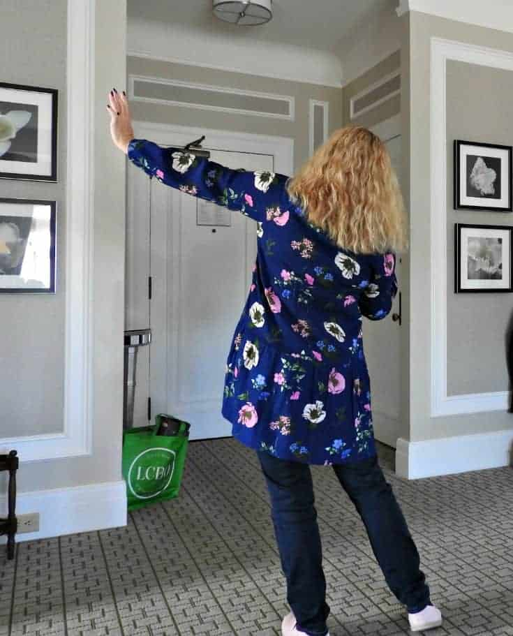 Old Navy navy Floral Dress and Haggar Dream Jeans with Tom's