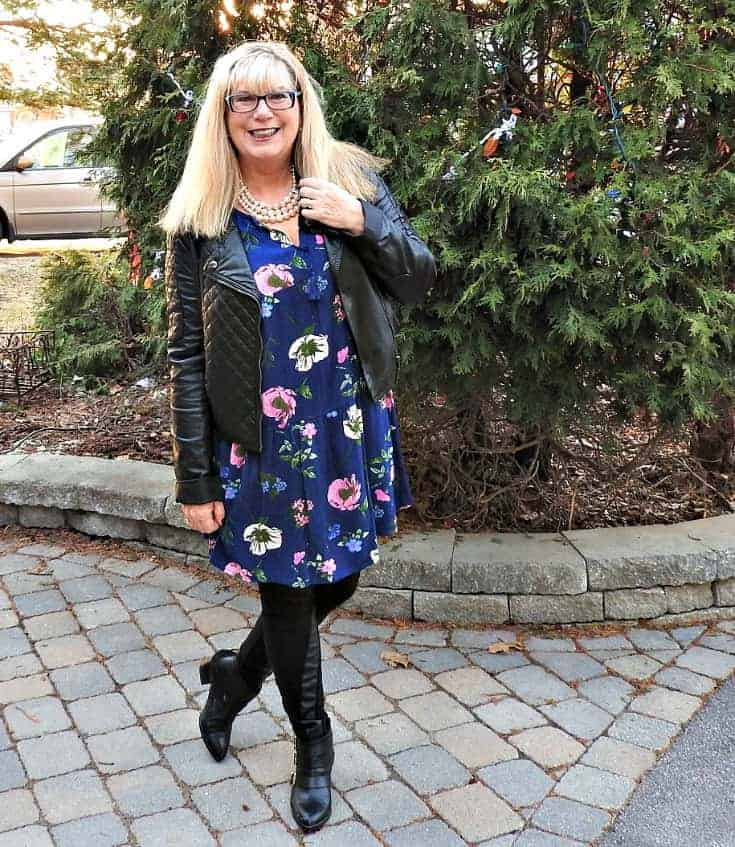 Wednesday Floral in an Old Navy Floral Frock with a black leather moto jacket