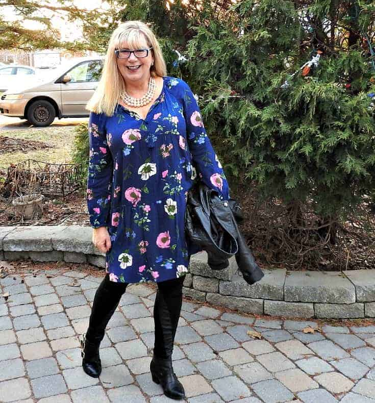 Wednesday Floral in Svelte Shapewear leather leggings and an Old Navy Floral Frock with pearls