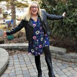 Svelte Shapewear leather leggings and an Old Navy Floral Frock with a leather moto