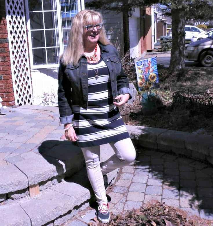 J Crew stripe dress, anchors and a denim jacket  and a fun necklace