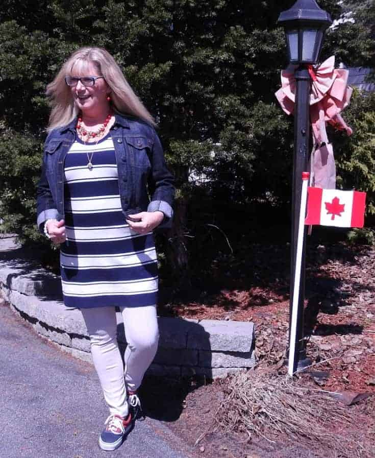 J Crew stripe dress, anchors and a denim jacket with a pair of vans a