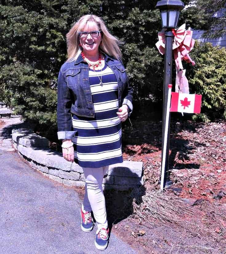 J Crew stripe dress, anchors and a denim jacket with a pair of vans and fun necklace