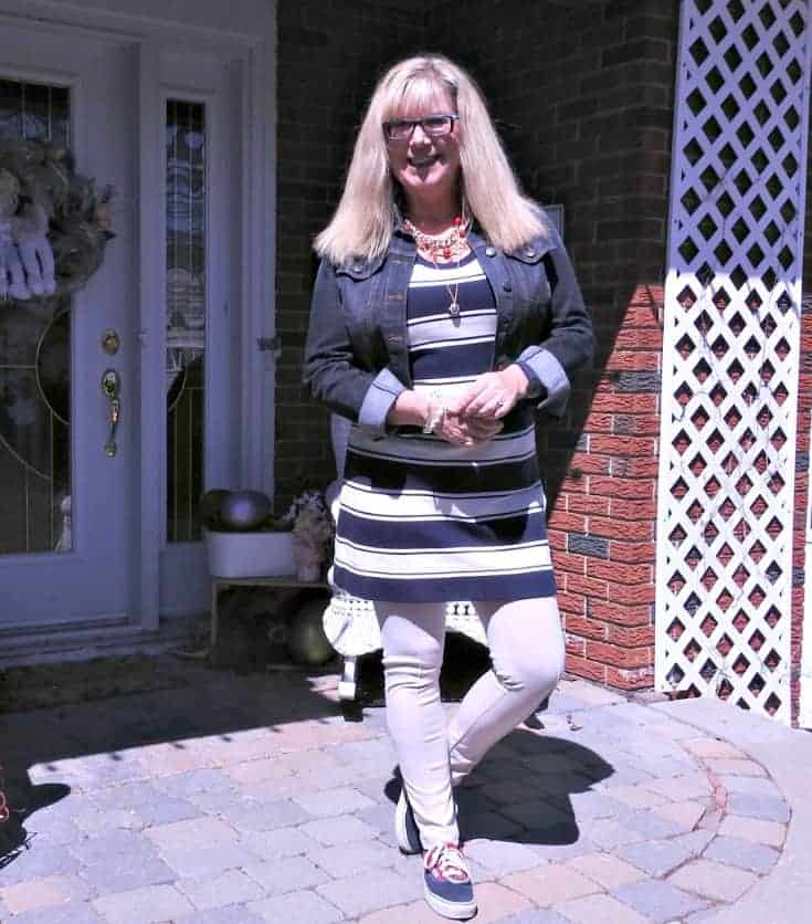stripes, anchors and a denim jacket with a pair of vans and fun anchor necklace