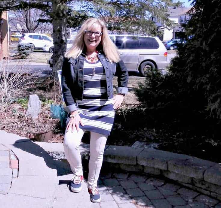 stripes, anchors and a denim jacket with a pair of vans and fun necklace
