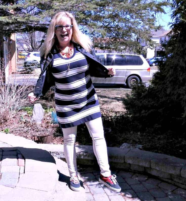 navy stripes, anchors and a bit of denim with a pair of vans and fun necklace