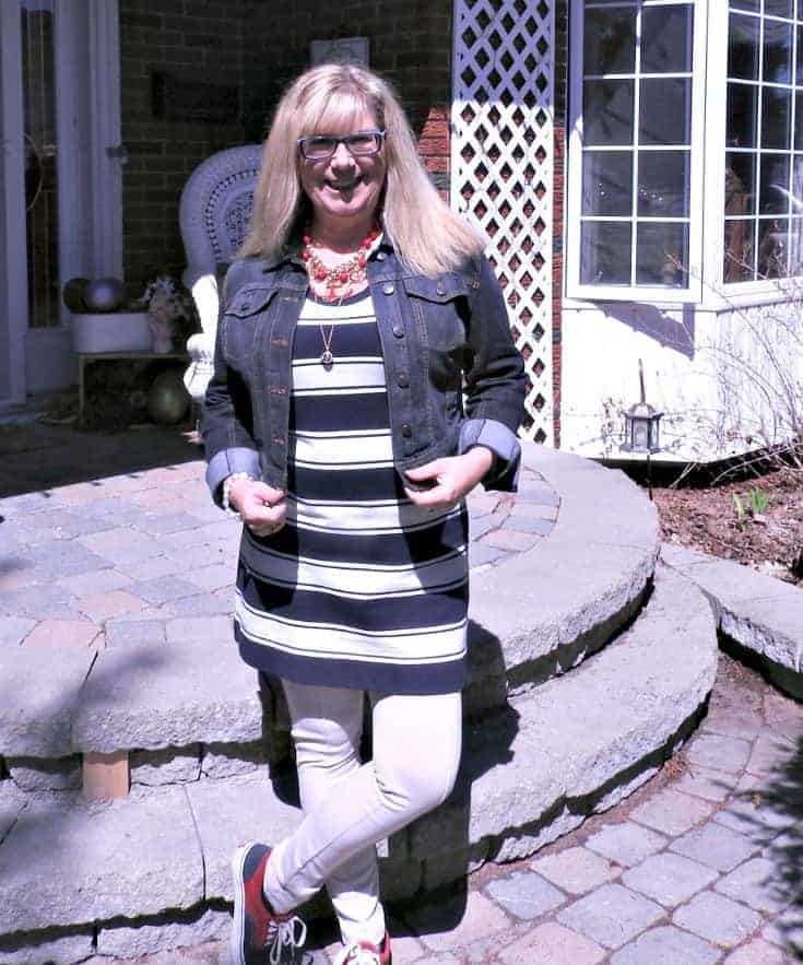 J Crew stripe dress, anchors and a denim jacket with a pair of red and blue vans