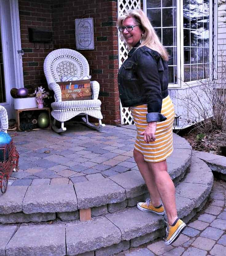 Old Navy Yellow Tee Dress with Stripes, yellow Converse and a denim jacket