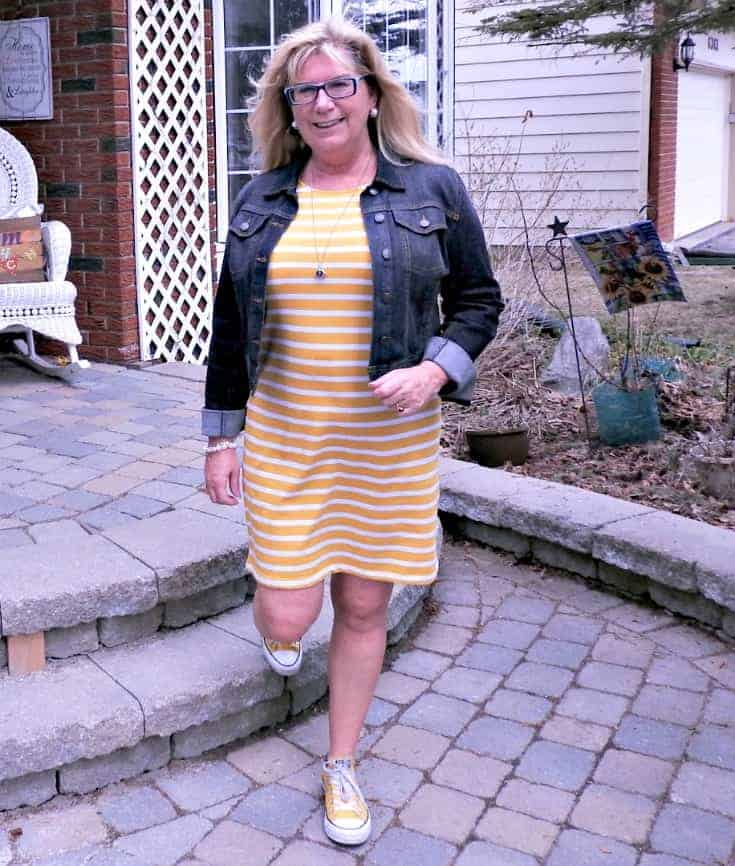Tee Dress with  Stripes, Converse and a denim jacket and a 7 charming sister necklace