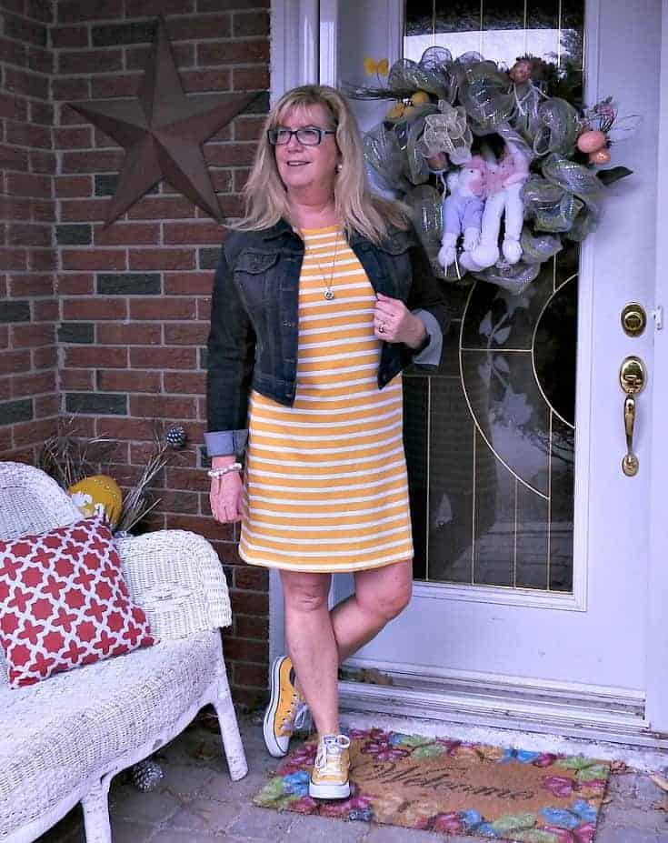 Old Navy Yellow Tee Dress with Stripes, Converse and a denim jacket and a 7 charming sister locket necklace