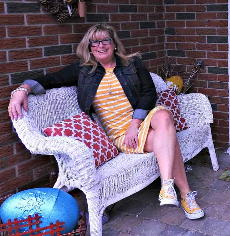 Old Navy Yellow Tee Dress with Stripes, Converse and a denim jacket