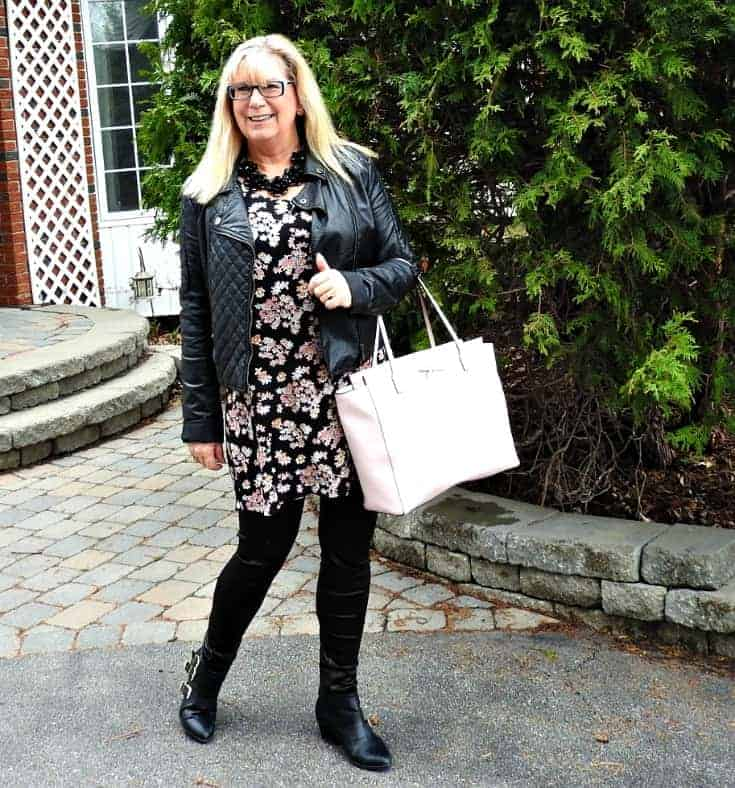 Lily morgan floral tunic, svelte shapewear and a biker chic jacket with a Kate spade bag
