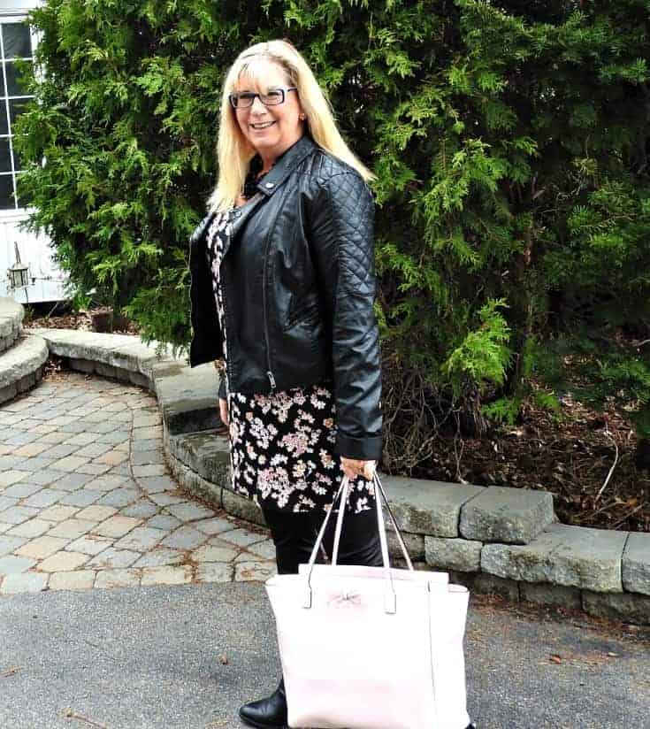 Lily morgan floral tunic, svelte shapewear and a moto jacket with a pink Kate spade bag