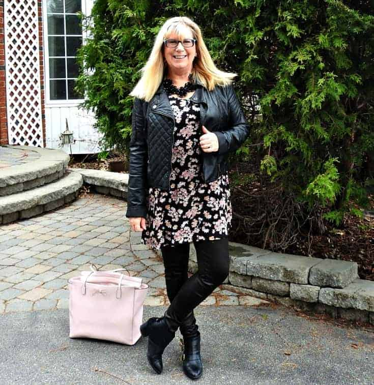 giant tiger floral tunic, svelte shapewear and a moto jacket with a Kate spade bag