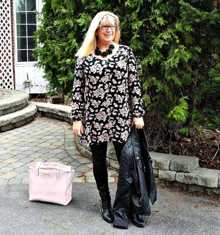 Lily morgan floral tunic, svelte leather shapewear and a moto jacket with a Kate spade bag